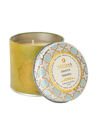 French Vermeil Mason Tin Scented Candle (Dia:3in, H:3in)