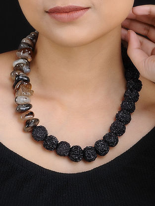 Grey Agate and Rudraksh Handcrafted Beaded Necklace