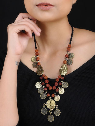 Gold Tone Rudraksh Beaded Handcrafted Thread Necklace with Coins