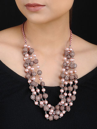 Pink Pearls and Rudraksh Handcrafted Beaded Necklace