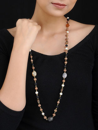 Quartz and Rudraksh Handcrafted Beaded Necklace