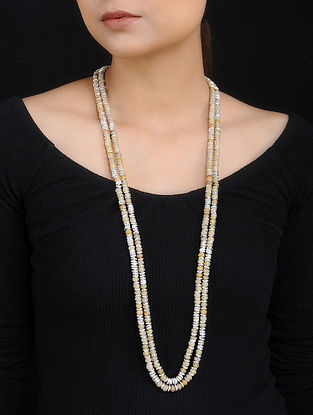 Cream Silver Plated Beaded Necklace
