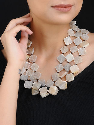 Cream Handcrafted Layered Necklace