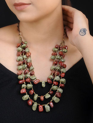 Red Green Agate Handcrafted Layered Necklace