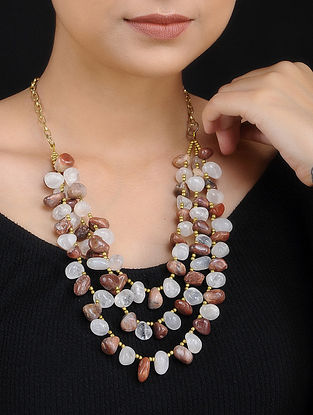 Brown White Agate Handcrafted Layered Necklace