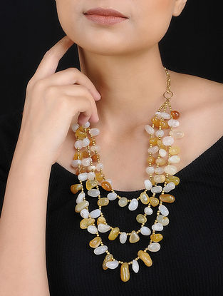 Yellow White Agate Handcrafted Layered Necklace