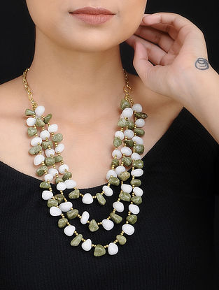 Green White Agate Handcrafted Layered Necklace