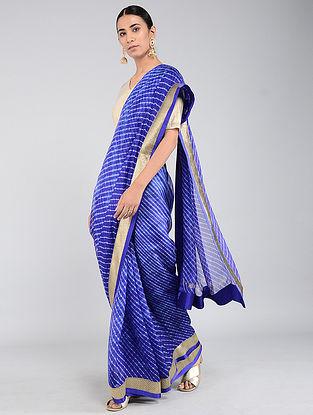 Blue-Ivory Leheriya Kota Silk Saree