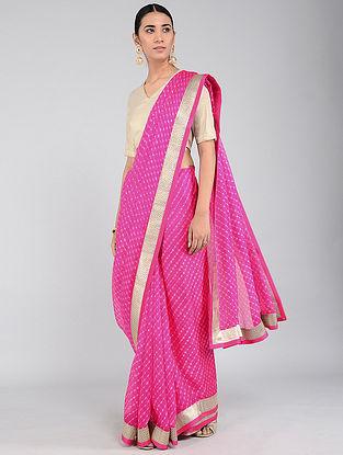 Pink-Ivory Leheriya Kota Silk Saree