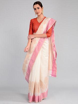 Ivory-Pink Chanderi Saree with Zari