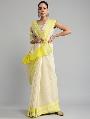 Ivory-Yellow Chanderi Saree with Zari