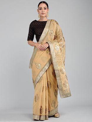 Beige Foil-printed Tissue Chanderi Saree