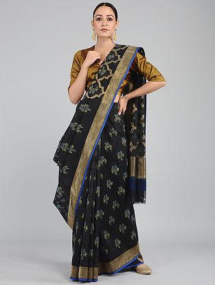 Black-Blue Benarasi Cotton Benarasi Saree