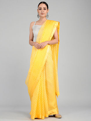 Yellow-Ivory Leheriya Kota Silk Saree