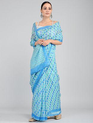 Blue-Green Printed Kota Silk Saree