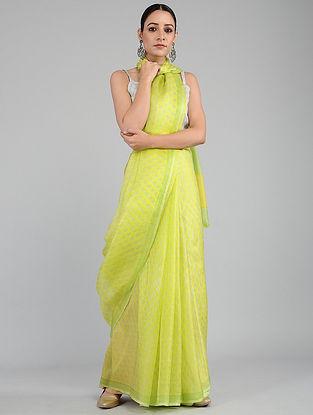 Green-Yellow Printed Kota Silk Saree