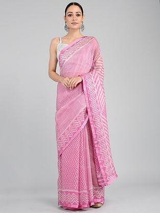 Pink-Ivory Batik-printed Kota Silk Saree