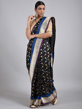 Black-Blue Handwoven Benarasi Silk Saree