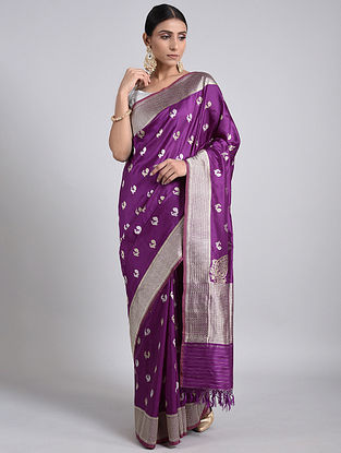 Purple Handwoven Benarasi Silk Saree