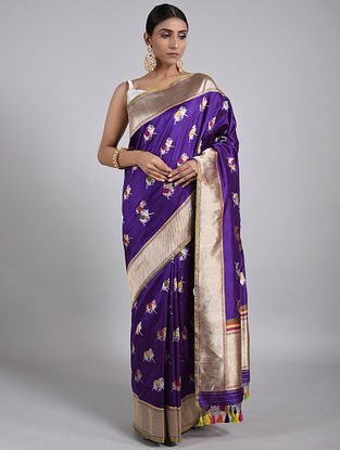 Blue Handwoven Benarasi Silk Saree