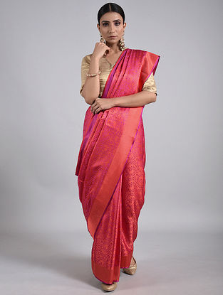 Red-Purple Handwoven Benarasi Silk Saree
