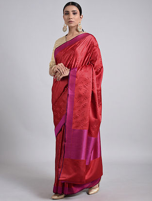 Maroon-Purple Handwoven Benarasi Silk Saree