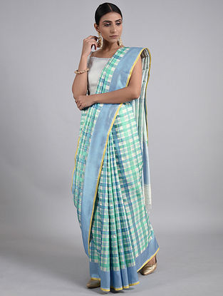 Ivory-Blue Handwoven Benarasi Silk Saree