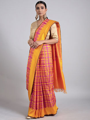Yellow-Pink Handwoven Benarasi Silk Saree