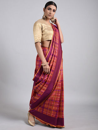 Purple-Coral Handwoven Benarasi Silk Saree