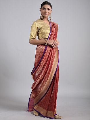 Maroon Handwoven Benarasi Silk Saree