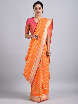 Orange Handwoven Benarasi Silk Saree