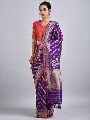 Purple-Pink Handwoven Benarasi Silk Saree