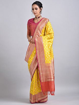 Yellow-Orange Handwoven Benarasi Silk Saree