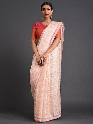 Pink-Ivory Handwoven Block Printed Kota Silk Saree