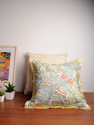 Green Embroidered Cotton Cushion Cover (18in x 18in)