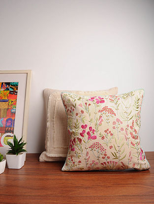 Embroidered Cotton Cushion Cover (16in x 16in)
