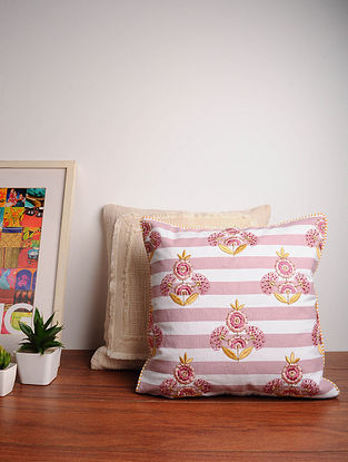 Pink Handcrafted Cotton Cushion Cover (16in x 16in)