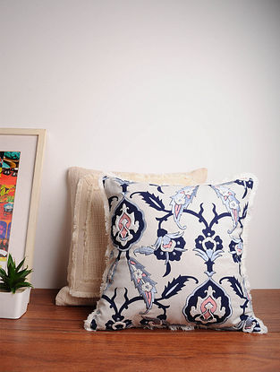 Blue Handcrafted Cotton Cushion Cover (16in x 16in)