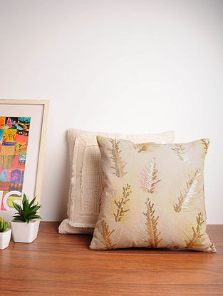 Beige Handcrafted Cotton Cushion Cover (16in x 16in)