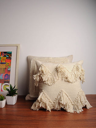 Off-White Embroidered Cotton Cushion Cover (16in x 16in)