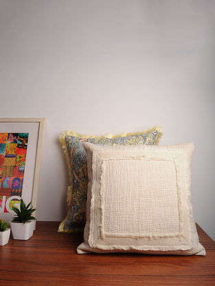 Off-White Handcrafted Cotton Cushion Cover (18in x 18in)