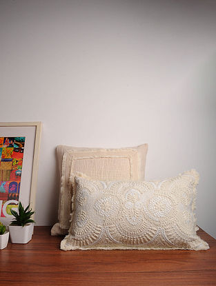 White Embroidered Cotton Cushion Cover (12in x 20in)