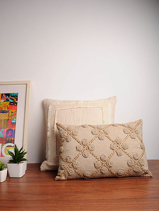 Beige Handcrafted Cotton Cushion Cover (12in x 18in)