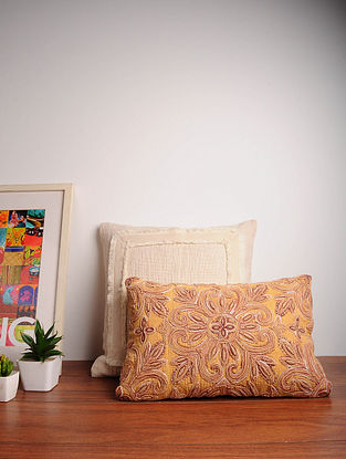 Yellow Embroidered Cotton Cushion Cover (12in x 18in)