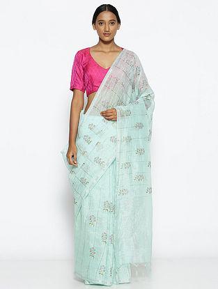 Turquoise Printed Linen Silk Saree with Zari