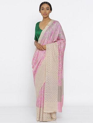 Pink-Green Printed Tussar Silk Saree