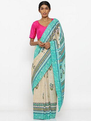 Ivory-Blue Printed Tussar Silk Saree