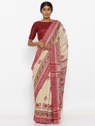 Ivory-Pink Printed Tussar Silk Saree