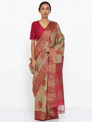 Beige-Pink Printed Tussar Silk Saree with Zari