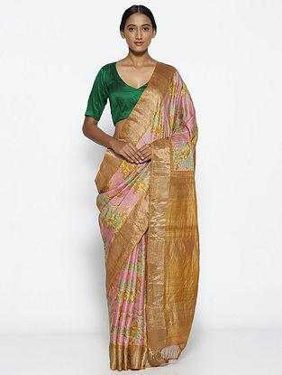 Pink-Beige Printed Tussar Silk Saree with Zari